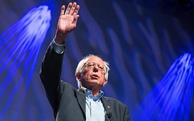 Senator Bernie Sanders (I-VT) addresses hecklers and supporters at the Netroots Nation 2015 Presidential Town Hall in Phoenix, Arizona, July 18, 2015. (Charlie Leight/Getty Images/AFP)