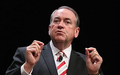 Former Arkansas governor Mike Huckabee fields questions at the Family Leadership Summit in Ames, Iowa, on July 18, 2015. (Scott Olson/Getty Images/AFP)