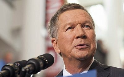Ohio Governor John Kasich announcing his 2016 presidential candidacy at Ohio State University in Columbus, Ohio, on July 21, 2015. (Ty Wright/Getty Images/AFP)