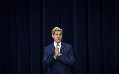 "John Kerry gestures during an event releasing the ""2015 Trafficking in Persons Report,"" at the US State Department, July 27, 2015 in Washington, DC. (Drew Angerer/Getty Images/AFP)"