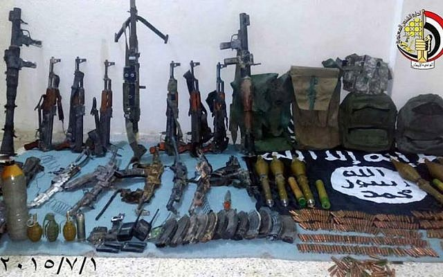 A photo shared by the Egyptian military shows a weapons cache seized from IS-linked jihadists in the Sinai Peninsula, July 2, 2015. (Facebook/Egyptian army)