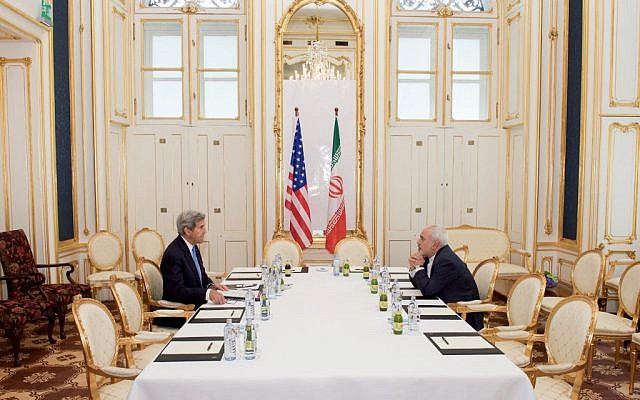 US Secretary of State John Kerry sits across from Iranian Foreign Minister Moyhammed Javad Zarif on July 1, 2015, in Vienna, Austria (State Department photo)