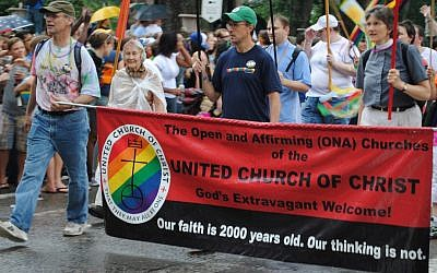 The United Church of Christ marching in a rally in 2010. (illustrative photo: CC BY Lizard10979, Flickr)
