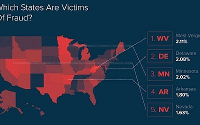 Infographic shows US states where customers suffer highest rates of online e-commerce fraud (Courtesy)