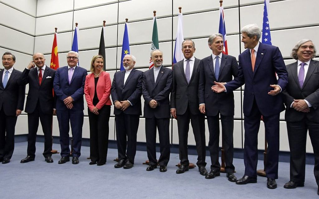 Participants in the talks on the Iran nuclear deal pose for a group photo at the UN building in Vienna, Austria, on July 14, 2015. (Carlos Barria, Pool Photo via AP)