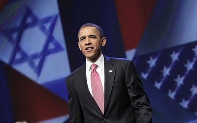 US President Barack Obama arrives to speak at the American Israel Public Affairs Committee (AIPAC) conference in Washington, Sunday, May 22, 2011 (AP Photo/J. Scott Applewhite)