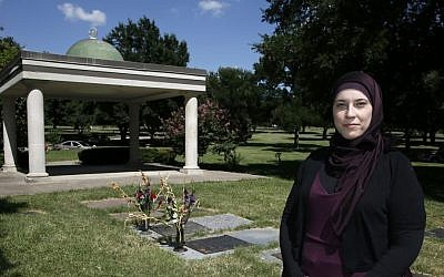 Alia Salem, executive director of the Dallas-Fort Worth chapter of the Council on American-Islamic Relations poses for a photo by an open-air pavilion in the Islamic Garden, a burial site for members of the Muslim faith that is part of the Restland Cemetery, Friday, July 17, 2015, in Dallas. (Tony Gutierrez/AP)