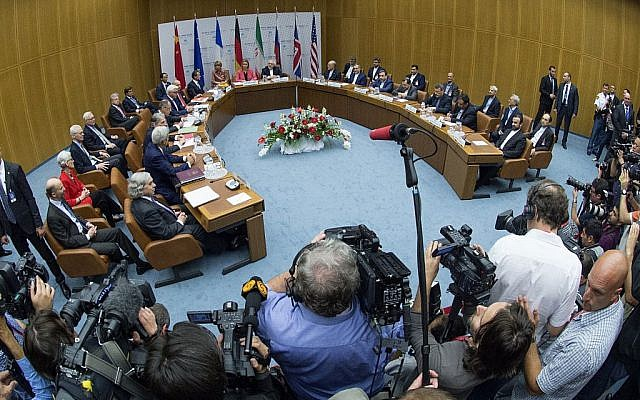 Overview of a last plenary session of the talks on the Iranian nuclear program that is being held at the United Nations building in Vienna, Austria, Tuesday, July 14, 2015. (Joe Klamar/Pool Photo via AP)