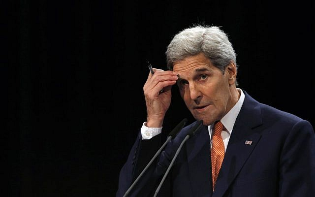 US Secretary of State John Kerry delivers a statement on the Iran deal at the Vienna International Center in Vienna, Austria, July 14, 2015. (Carlos Barria/AP/Pool)