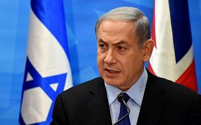 Prime Minister Benjamin Netanyahu holds a press conference with British Foreign Secretary Philip Hammond at his office in Jerusalem on July 16, 2015. (AFP/ POOL / DEBBIE HILL)