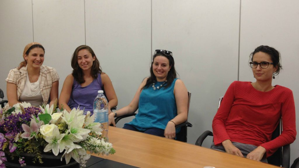 Four of the dozens of graduates from the Begin Center's Israel Government Fellows who have become Israeli citizens. From left: Rachelle Toobian Bell from San Diego, CA, Rachel Greenspan from New Jersey, Lauren Abecassis-Kandravy from Toronto, and Camille Morliere from Paris. (Amanda Borschel-Dan/The Times of Israel)