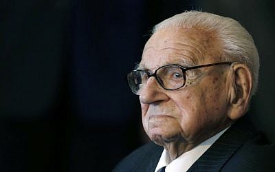 A Tuesday, Oct. 28, 2014 photo from files of Sir Nicholas Winton waiting to be decorated with the highest Czech Republic's decoration, The Order of the White Lion at the Prague Castle in Prague, Czech Republic. Winton, who saved more than 650 Jewish children from the Holocaust, has died at the age of 106. (AP Photo/Petr David Josek, File)
