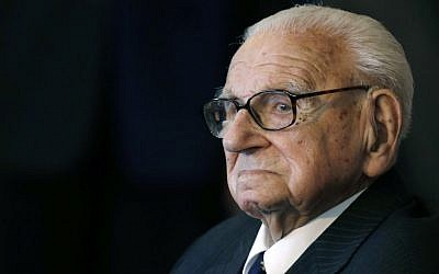 A Tuesday, Oct. 28, 2014 photo from files of the then 105 year-old Sir Nicholas Winton waiting to be decorated with the highest Czech Republic's decoration, The Order of the White Lion at the Prague Castle in Prague, Czech Republic. (AP/Petr David Josek)