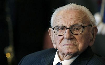 Sir Nicholas Winton waits to be decorated with the highest Czech Republic's decoration, The Order of the White Lion, in Prague, October 28, 2014. Winton died July 1, 2015, at the age of 106. (AP/Petr David Josek, File)