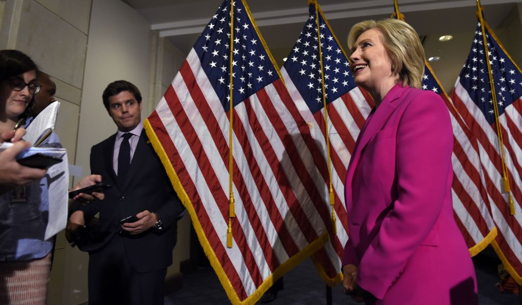 Democratic presidential candidate Hillary Rodham Clinton walks away from the microphones after speaking to reporters on the deal with Iran, Tuesday, July 14, 2015, on Capitol Hill in Washington. (AP Photo/Susan Walsh)