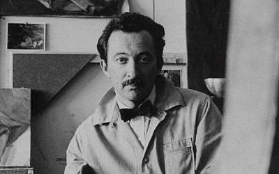 Artist David Aronson in his studio, 1956. (Braithwaite & Katz/ via JTA)