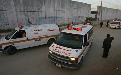 Illustrative photo of Palestinian ambulances (Abed Rahim Khatib/ FLASH90)