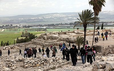 Visitors at the ancient site of Tel Megiddo in the Lower Galilee in 2012. (Yossi Zamir/Flash 90)