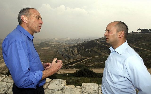 Moti Yogev (left) and his Jewish Home party leader Naftali Bennett (Photo by FLASH90)