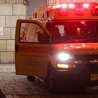 Illustrative photo of a Magen David Adom ambulance outside an Israeli hospital (Noam Revkin Fenton/Flash90)