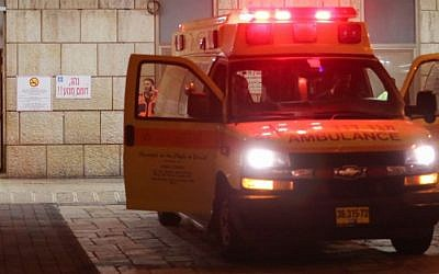 Illustrative photo of a Magen David Adom ambulance outside an Israeli hospital (Noam Revkin Fenton/Flash90)