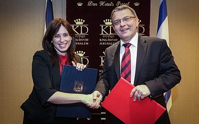 Israeli Deputy Foreign Minister Tzipi Hotovely meets with Czech Foreign Minister Lubomir Zaoralek in Jerusalem on June 8, 2015. (Yossi Zamir/Flash90)