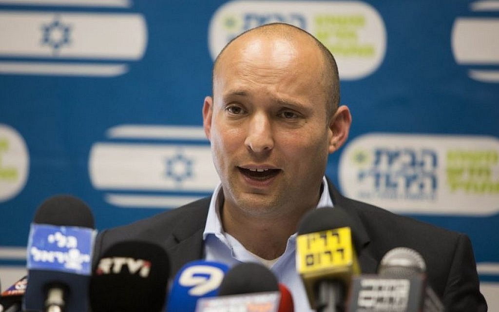 Naftali Bennett, leader of the Jewish Home party speaks during a party meeting in the Israeli parliament on June 15, 2015. (Yonatan Sindel/Flash90)