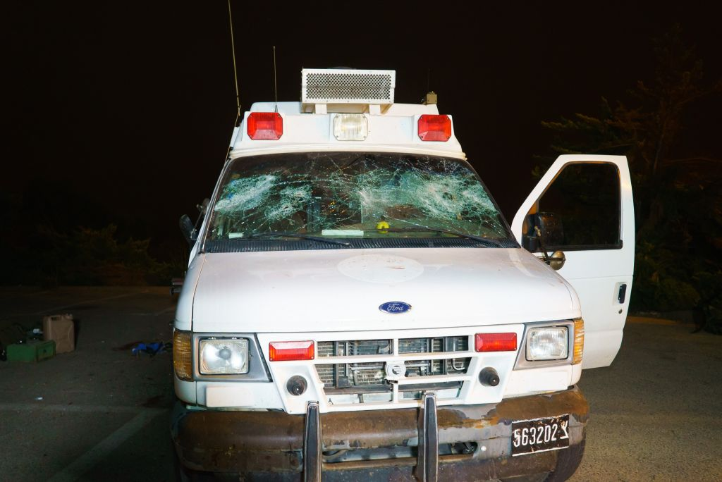 The scene where Druze Israeli residents attacked an Israeli ambulance carrying wounded Syrians near Majdal Shams,  June 22, 2015 (Basel Awidat/Flash90)