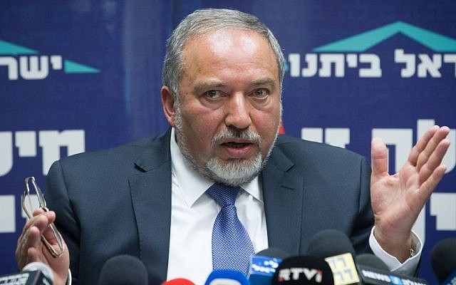 Yisrael Beytenu chairman Avigdor Liberman speaks during a party meeting at the Knesset on June 29, 2015. (Photo by Miriam Alster/Flash90)