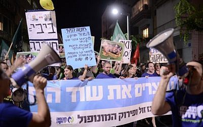 Israelis protest in Tel Aviv on July 4, 2015 against a plan to allow America''s Noble Energy and Israel''s Delek Group access to Israel''s Tamar and Leviathan offshore natural gas reserves. (Tomer Neugberg/Flash90)