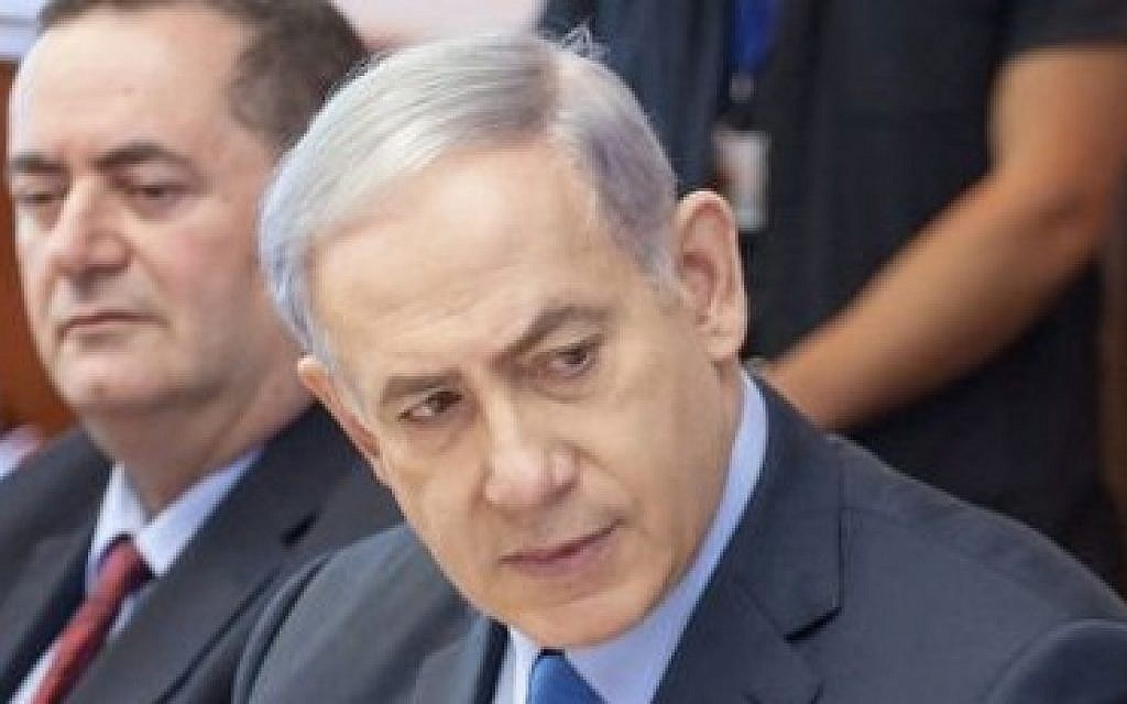 Israeli Prime Minister Benjamin Netanyahu seen at the weekly government conference at the prime minister's office in Jerusalem on July 12, 2015. (Emil Salman/POOL)