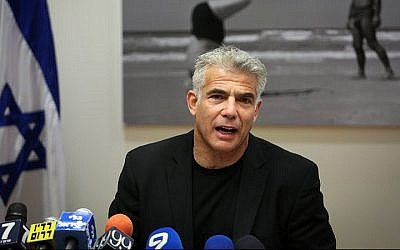 Chairman of Yesh Atid Yair Lapid, speaks during a faction meeting at the Knesset, on July 13, 2015. (Hadas Parush/Flash90)
