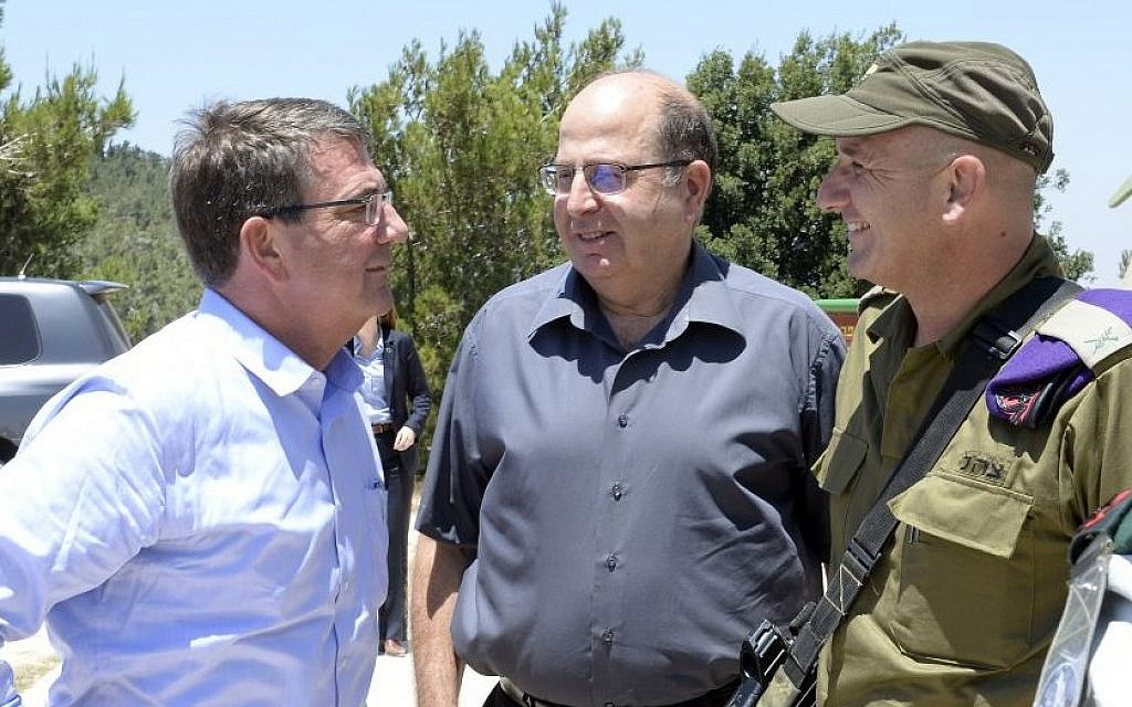 Israeli Defense Minister Moshe Ya'alon (C) and US Defense Secretary Ash Carter (L) seen at an outlook in the Hula Valley in northern Israel on July 20, 2015. (Matty Stern/US Embassy Tel Aviv)