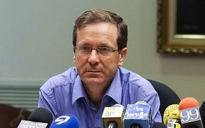 Isaac Herzog, leader  of the Zionist Union party seen during a party meeting at the Knesset on July 20, 2015. (Yonatan Sindel/Flash90)