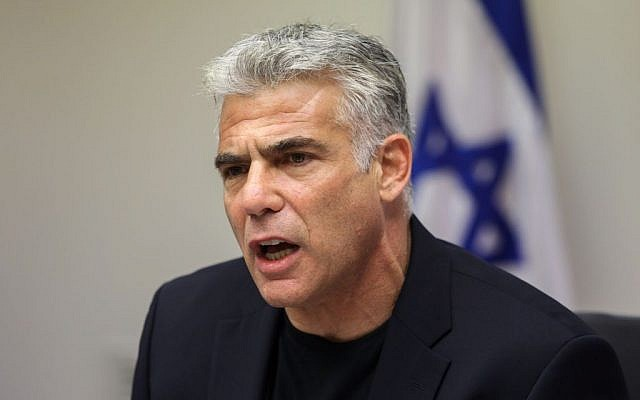 Yair Lapid, speaks during a Yesh Atid party meeting at the Knesset, Israel's parliament in Jerusalem on July 20, 2015. ( Yonatan Sindel/Flash90)