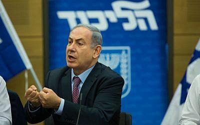 Prime Minister Benjamin Netanyahu speaks during a Likud faction meeting at the Knesset, on July 27, 2015. (Yonatan Sindel/Flash90)