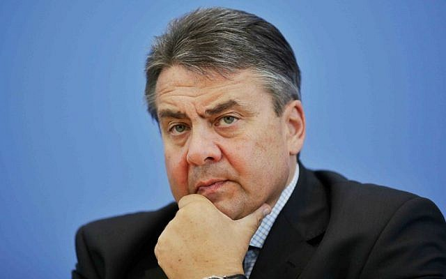 German Vice Chancellor and Economy Minister Sigmar Gabriel briefs the media on his July 20 visit to Iran during a news conference in Berlin, Germany, Thursday, July 23, 2015. (AP Photo/Markus Schreiber)