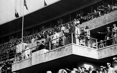 In this August  2, 1936 photo, Adolf Hitler and Hermann Goering are seen watching events at the Olympics in Berlin. (AP)