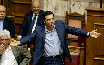 Greece's Prime Minister Alexis Tsipras speaks during an emergency parliament session in Athens, Thursday, July 23, 2015. (AP Photo/Thanassis Stavrakis)