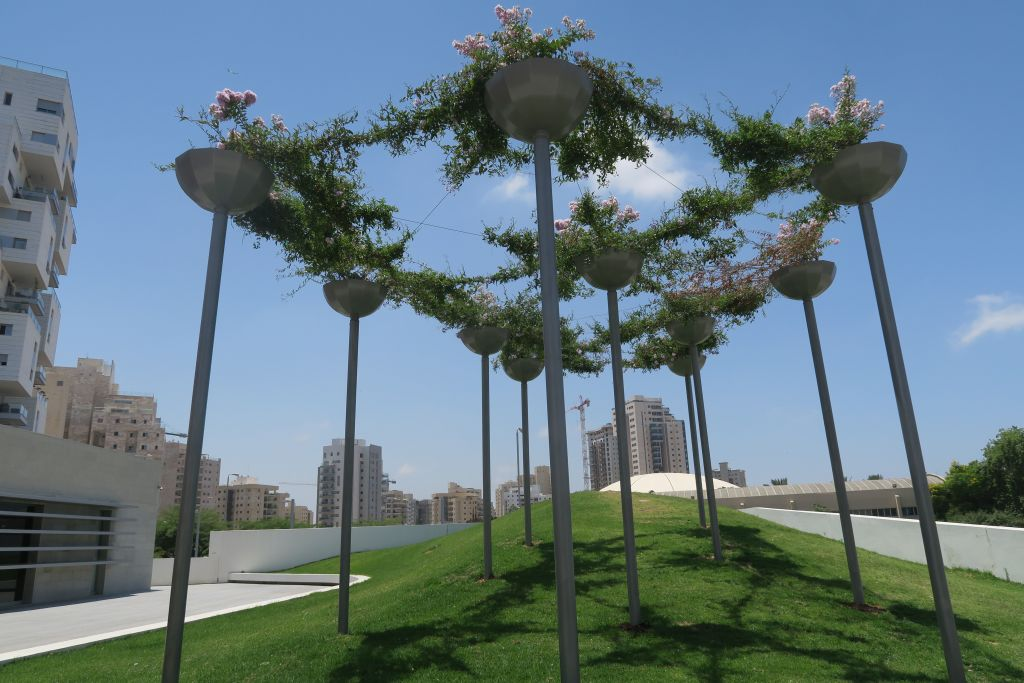 Using natural materials to create shade in Israel's sunny exteriors (Photo credit: Luke Tress/Times of Israel)