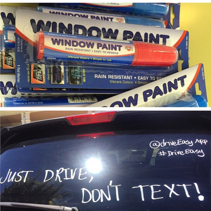 Washable markers + a social conscience = a grassroots anti-texting campaign. (courtesy)