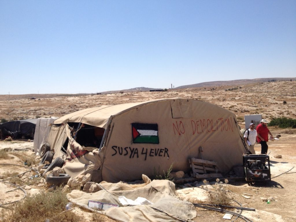 A tent in the village of Susya, July 19, 2015 (Elhanan Miller/Times of Israel)