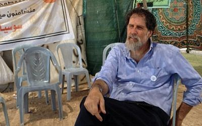 Rabbi Arik Ascherman at Susya, July 19, 2015. (Elhanan Miller/Times of Israel)