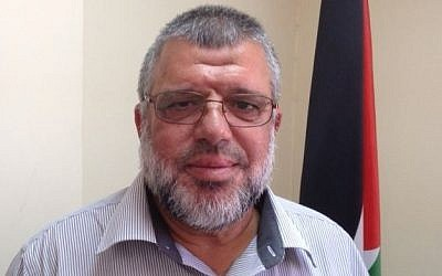 Hamas official Hassan Yousef at his office in Ramallah, July 30, 2015 [Elhanan Miller/Times of Israel]