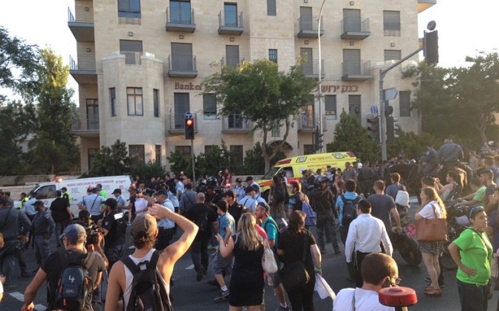 Scene of the stabbing of six participants in the Jerusalem gay pride parade on Thursday, July 30, 2015. (Stuart Winer/Times of Israel)
