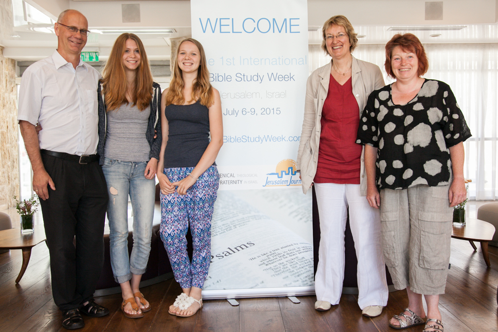 Although its population is only 6,000, five people from the town of Bodenwerder attended the first International Bible Study Week in Jerusalem from July 6-9, 2015. From left to right: Ekkehard Werner, Nele Werner, Anna Rau, Christiane Klein, and Heike Stopel. (Dave Sinai)
