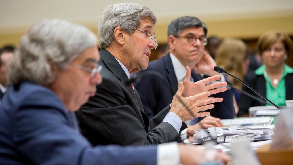 Secretary of State John Kerry, center, flanked by Treasury Secretary Jacob Lew, right, and Energy Secretary Ernest Moniz, testifies on Capitol Hill in Washington, Tuesday, July 28, 2015, before the House Foreign Affairs Committee hearing on the Iran Nuclear Agreement. (AP Photo/Andrew Harnik)