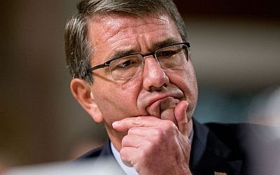 Defense Secretary Ashton Carter pauses while testifying on Capitol Hill before the Senate Armed Services Committee in Washington, DC, on July 29, 2015. (AP/Andrew Harnik)