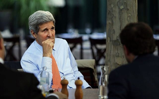 US Secretary of State John Kerry on the terrace of a hotel where the Iran nuclear talks meetings are being held in Vienna, Austria, Thursday, July 2, 2015. (Carlos Barria/Pool via AP)