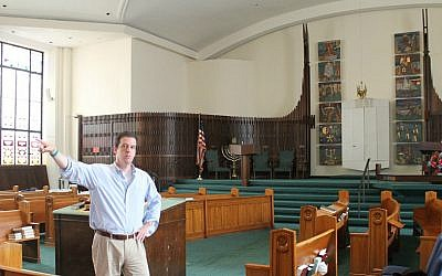A flex-plan: Under a renovation plan spearheaded by Rabbi William Hamilton, Kehillath Israel's sanctuary will replace its fixed pews with stacking chairs. (Uriel Heilman/JTA)